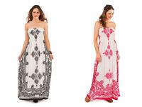maxi dress long stretchy summer holiday beachwear 8 10 12 14 16 18 20 22 D434