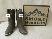 Youth Smoky Mt Western Boots Sz 6.5d Brown Distress Phoenix Bird Design Gold Tip