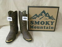 Youth Smoky Mt Western Boots Sz 3.5d Brown Distress Phoenix Bird Design Gold Tip