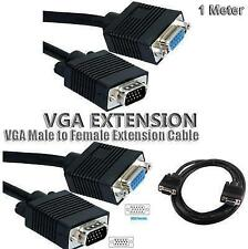 SVGA VGA Male to Female Extension Laptop LCD Monitor PC Cable 1M METER