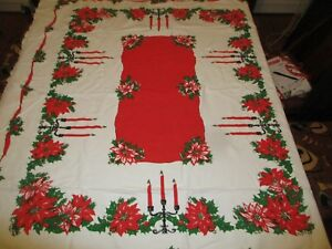 Vintage-Christmas-Tablecloth-Poinsettias-Holly-amp-Candles-51-034-x-56-034