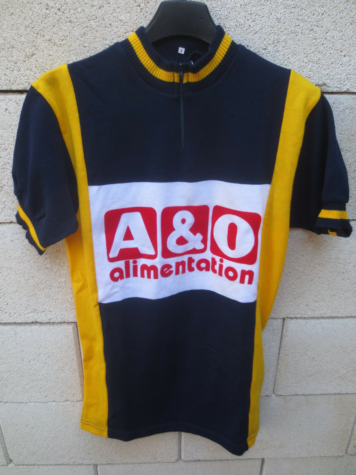 Maillot cycliste A & O ALIMENTATION vintage cycling jersey trikot camiseta 3 M