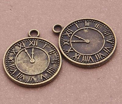 10pc Retro Bronze( clock )Bead Charms Accessories wholesale PJ2231