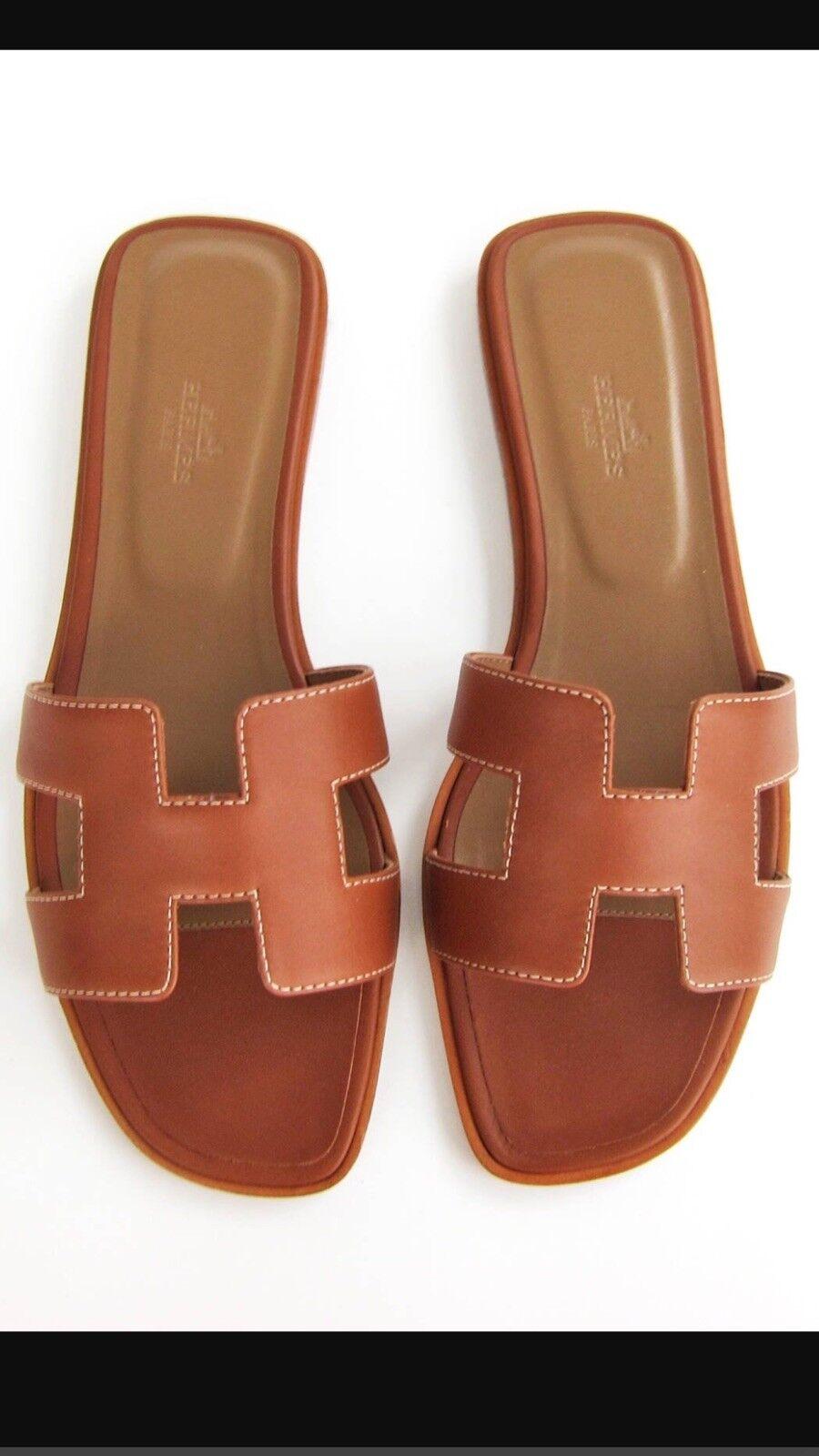 Nueva Hermes oro Marrón oran Oasis Sandalia Zapatilla 37 US 6 Zapatos Planos Mocasín