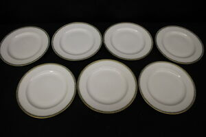 Set-of-7-Vintage-THEODORE-HAVILAND-Limoges-GREEN-GOLD-9-034-Luncheon-Plates-France