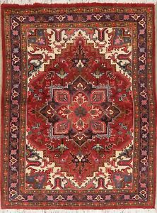 Geometric RED Heriz Serapi Area Rug Wool Hand-Knotted Traditional Carpet 5'x6'