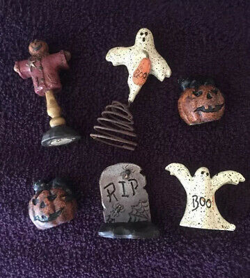 SALEM COLLECTION Mini Halloween Assorted Pumpkin Figurines Set Of 6 New RARE!!