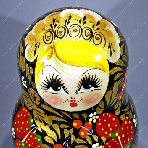 "8/"" BIG KHOKHLOMA TRADITIONAL RUSSIAN MATRYOSHKA BABUSHKA NESTING 10 DOLLS 10PCS"