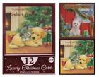 Pack Of 12 Luxury Christmas Cards & Envelopes 2 Designs - Christmas Puppy Scene