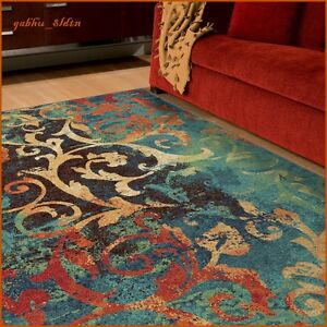 Image Is Loading Unique Watercolor Scroll Area Rug Teal Blue Red
