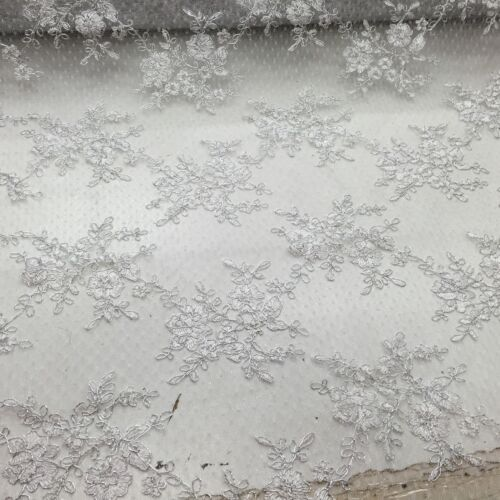 Metallic White Flowers Embroider On A Mesh Lace Wedding//Bridal Fabric//prom//yard