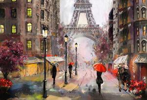 SUPERB-PARIS-CITYSCAPE-ARTWORK-CANVAS-PICTURE-MODERN-ART-HOME-DECOR-PAINTING