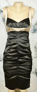 XSCAPE BY JOANNA CHEN Black Tan Ruched Sleeveless Dress 10 Style X8351 Lined