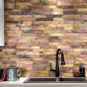 Superb Details About Peel And Stick Tile Self Adhesive Metal Wall Bath Kitchen Backsplash Copper Gold Beutiful Home Inspiration Truamahrainfo