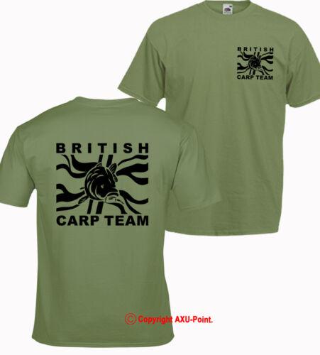 "Pêche à la carpe big carp /""british carpe team/"" t-shirt olive//2 faces la carpe crew"