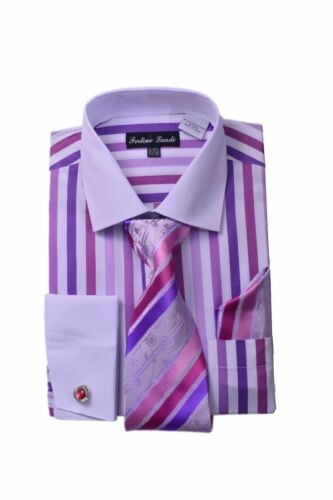 Bold Stripes  W//Tie /& Hanky Real Matching Cufflinks FL629 New Men/'s DressShirt