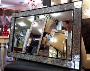 gro crackle wand spiegel schwarzen rahmen silber mosaik glas marokkanische ebay. Black Bedroom Furniture Sets. Home Design Ideas