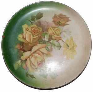 Dresden-China-Plate-Ohio-Yellow-Roses-Signed-Artist-Guyeau-Antique