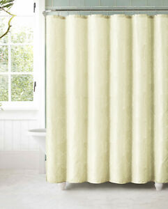 Image Is Loading Ivory Jacquard Fabric Shower Curtain White Textured Leaf