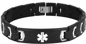New-7-thru-8-5-inch-Black-Stainless-Steel-Engravable-Medical-Alert-Bracelet