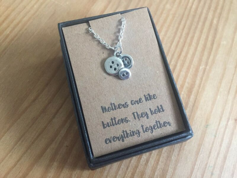 Mothers Day Gift Boxed Silver Mothers Are Like Buttons Necklace Quote New