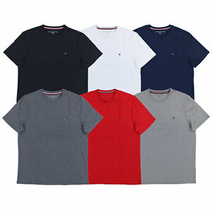 Tommy-Hilfiger-T-Shirt-Mens-Crew-Neck-Tee-Classic-Fit-Short-Sleeve-Solid-Shirt