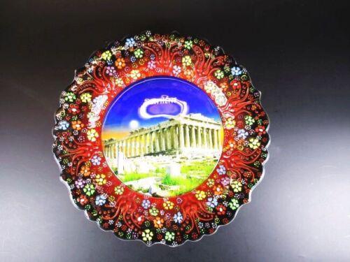 Athen Akropolis Griechenland Souvenir Teller Plate 25 cm,Keramikteller,(3)