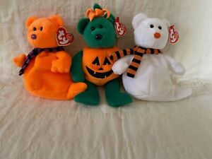 BEANIE BABIES RETIRED HALLOWEEN SET - SHIVERS - TRICKY - QUIVER W/TAGS