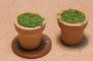 1:12 Scale 2 Ceramic Flower Pots Zabawki Ogród
