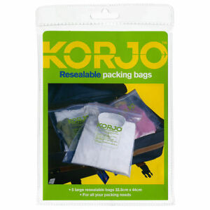 Korjo-L-Resealable-Travel-Packing-Bags-Zip-Clothes-Shoe-Storage-Bag-5-10-15-Pack