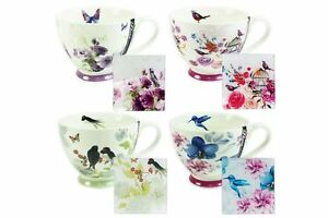 Flora-Floral-Birds-Afternoon-Tea-Mugs-and-Glass-Coasters-Set-of-4