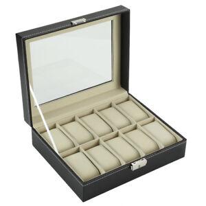 Uhrenbox mit Schaufenster f. 10 Uhren Organizer schwarz Uhrenetui Kasten