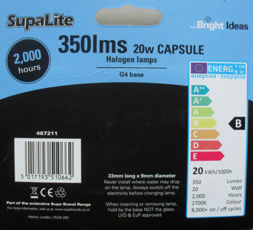 Halogen light bulb capsule 12v G4 base 20w pack of 4 by Supa