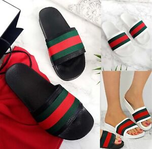 LADIES-WOMENS-FLAT-STRIPED-SLIDES-SLIDERS-SANDALS-SUMMER-MULES-SLIPPERS-SHOES-SZ