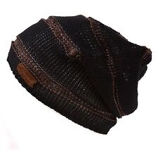 Casualbox Mens Linen Cotton Slouch Beanie Knit Hat Light Weight Black