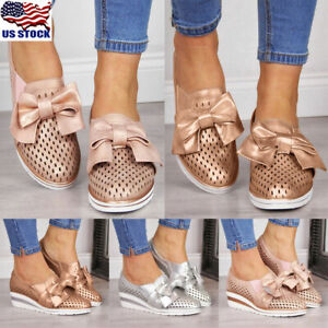 Women-Bowknot-Sneakers-Shoes-Ladies-Wedge-Heel-Hollow-Out-Trainers-Walking-Shoes