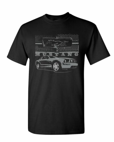Ford Honeycomb Grille T-Shirt Mustang Silhouette US Muscle Car Mens Tee Shirt