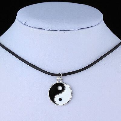 DIY 2015 Tibetan Silver Pendant Necklace Choker Chains Charm Black Leather Cord