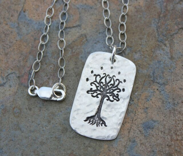 Rustic Tree of Life + Stars Necklace- Handmade fine silver Celtic dog tag charm