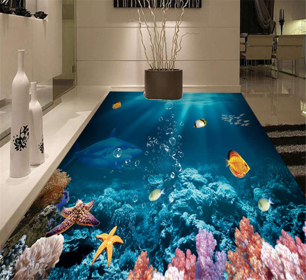Vast Expanse Water 3D Floor Mural Photo Flooring Wallpaper Home Print Decoration