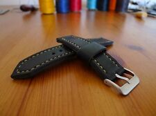 21mm black leather watch strap - completely handmade to order.