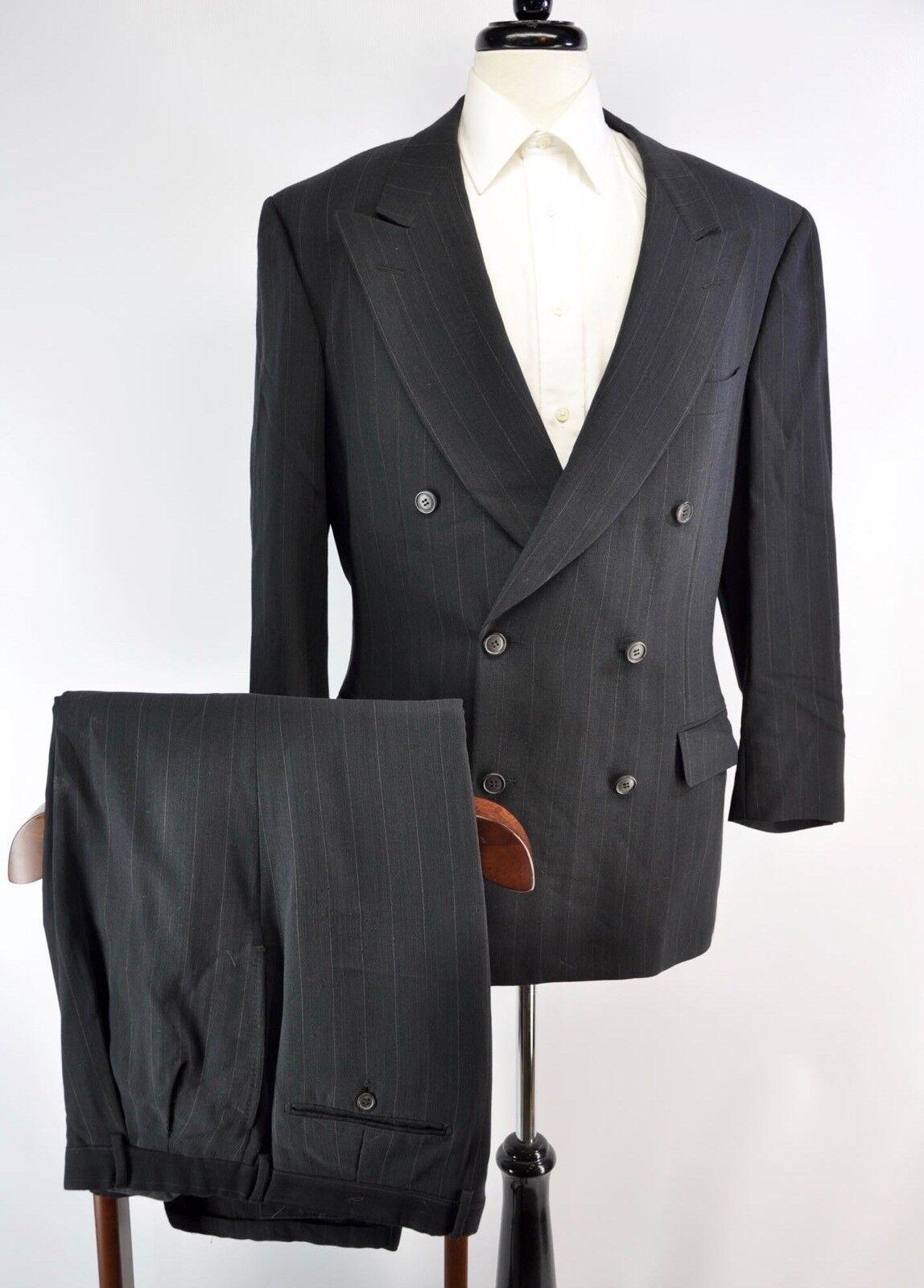 Ermenegildo Zegna Charcoal grau Double Breasted Peak Lapel Stripe Wool Suit 42R