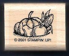 PUMPKIN CORN APPLE Pear FALL Basket Bowl Filler Stampin' Up! 2001 RUBBER STAMP