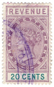 (I.B) Malaya (Straits Settlements) Revenue : Duty Stamp 20c
