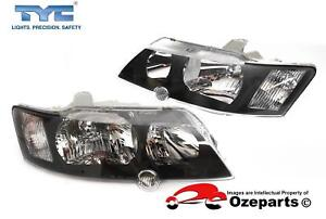 Pair-LH-RH-Head-Light-Lamp-Black-For-Holden-VY-Commodore-SS-SV8-2002-2004