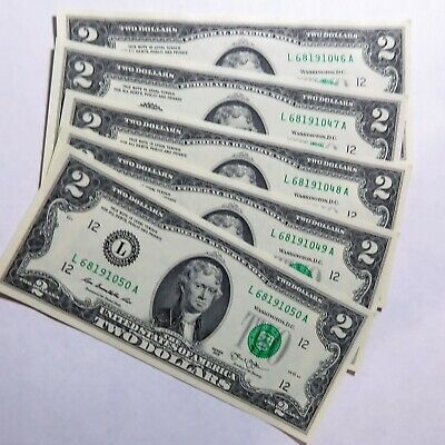 2013-2017 ** *** 25  NEW Two Dollar Bills $50.00 Consecutive #/'s Uncirculated