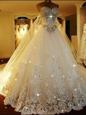 Luxury Sparkle Wedding Dress With Crystals Detachable Back Train Bridal Gown Ebay
