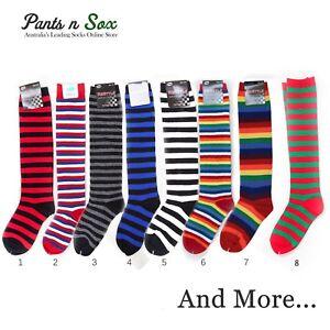 7b9d184b5ab Premium Cotton Stripe Womens Knee High Socks Kids Party Costume ...