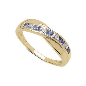 9ct-Gold-0-25ct-Tanzanita-y-Diamante-Canal-Conjunto-Anillo-Eternidad