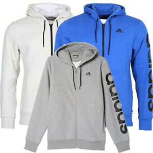 Details about ADIDAS MEN'S SPORTS ESSENTIALS LINEAR FZ HOODY in GREYWHITEBLUE FREE DELIVERY
